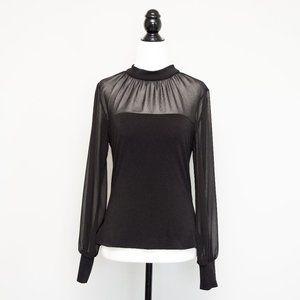 Ever New Melbourne Sheer Black Bishop Sleeve Top